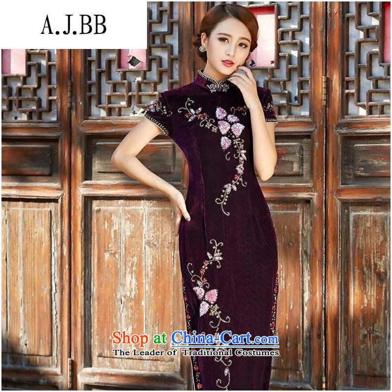And involved long-yul _8809 velvet cheongsam 2015 autumn and winter new improved retro nail pearl cheongsam dress in purple long-sleeved聽L