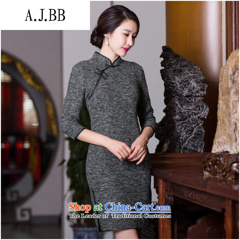 The Secretary for Health Concerns of boutiques _ thick qipao 2015 new autumn and winter retro pure colors in light gray cuff traditional Sau San Mao? female picture color?S