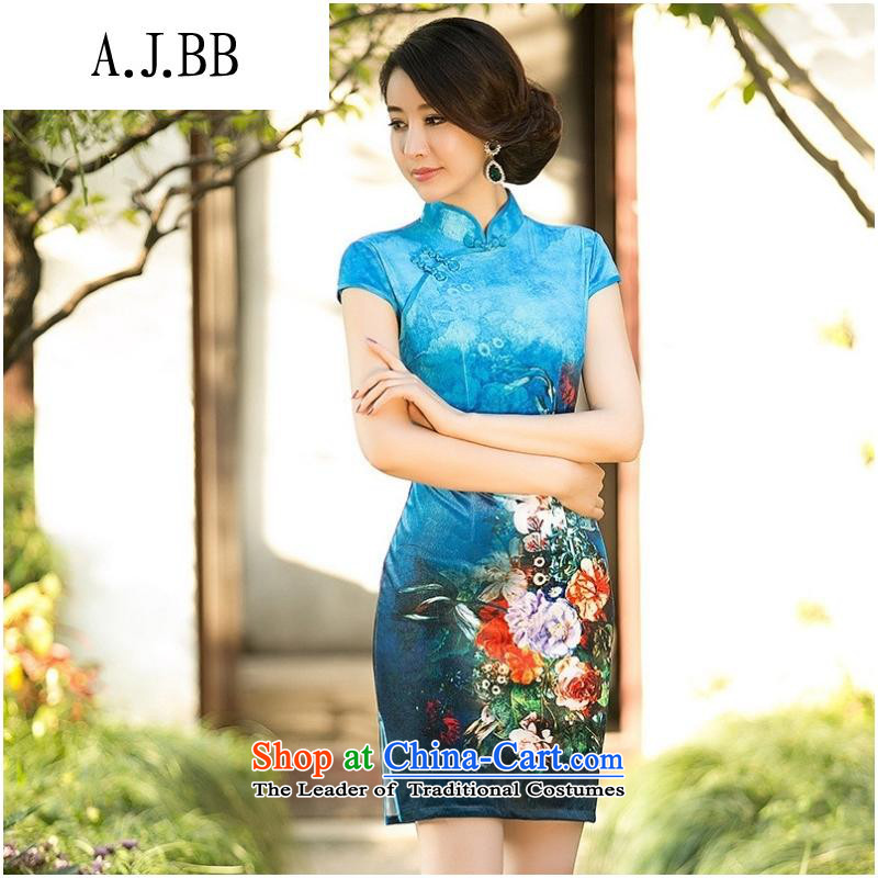 Secretary for autumn and winter clothing shops involved _ new counters Digital positioning flower cheongsam dress velvet short-sleeved improved stylish poster cheongsam blue燲XL