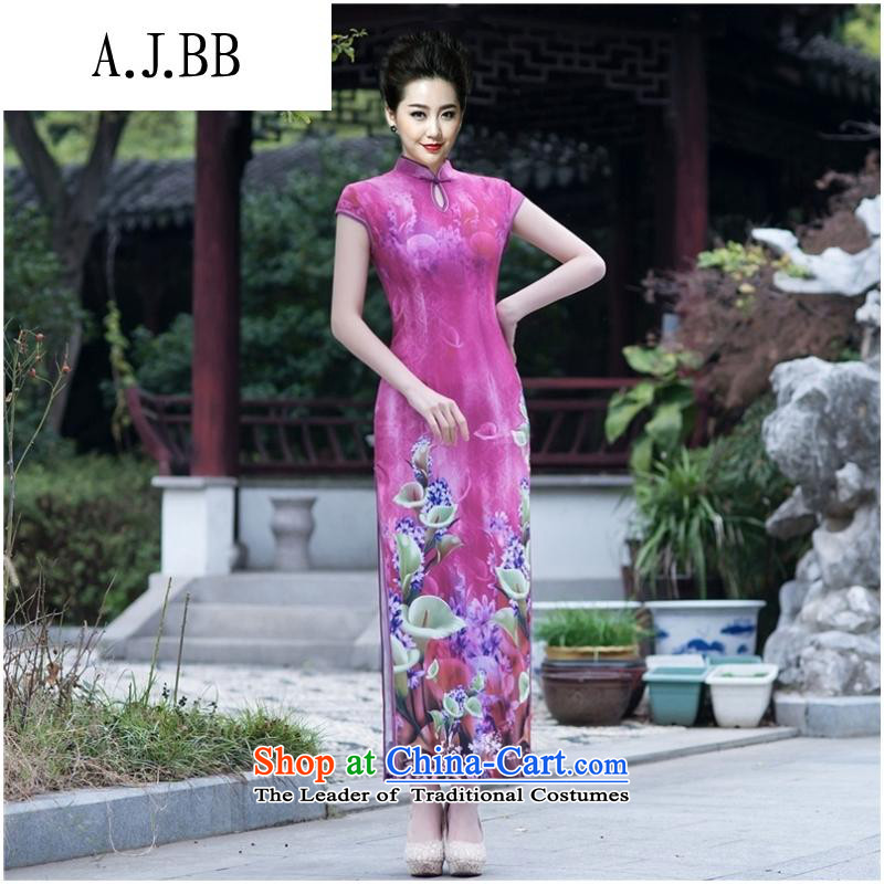 The Secretary for Health related shops _ autumn and winter stylish Sau San modal long folder cheongsam dress Daily dinner show qipao gown figure聽XXL
