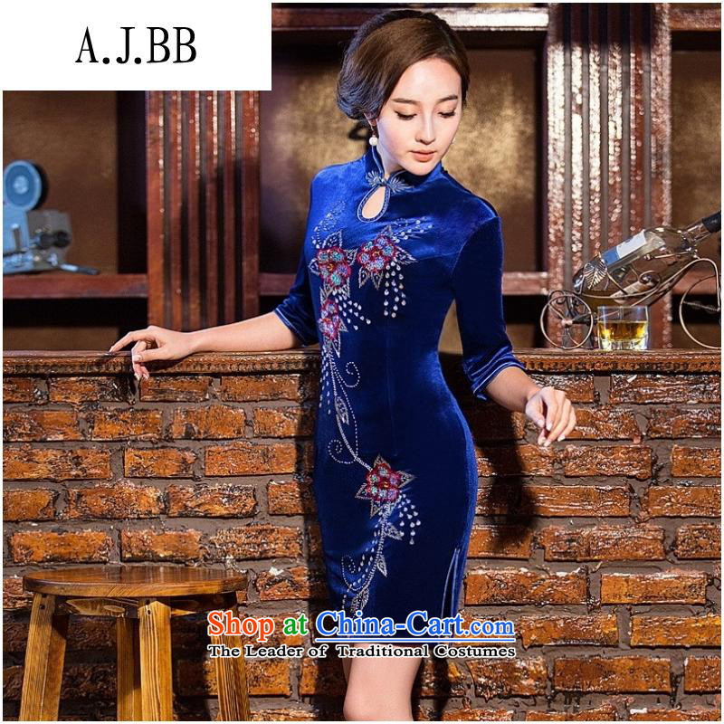 And involved new _2014 shops autumn and winter load mother-to-day fall retro qipao scouring pads, 7 short-sleeved cheongsam dress photo color XXL