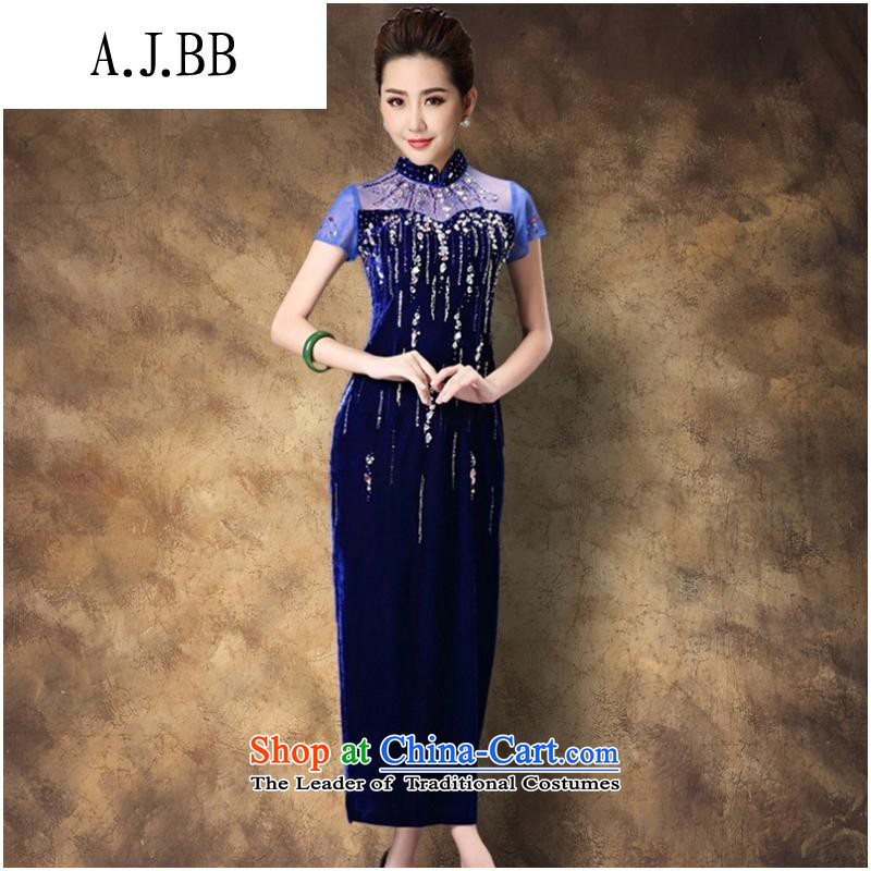 Secretary for autumn and winter clothing *2015 involving new women's temperament cheongsam dress larger mother retro improved cheongsam dress purple flowers ironing?M
