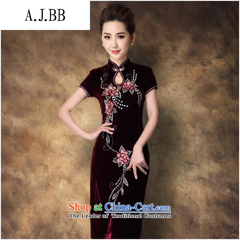 Secretary for autumn and winter clothing shops involved * New really scouring pads in the long night of qipao gown Women's Maroon?M