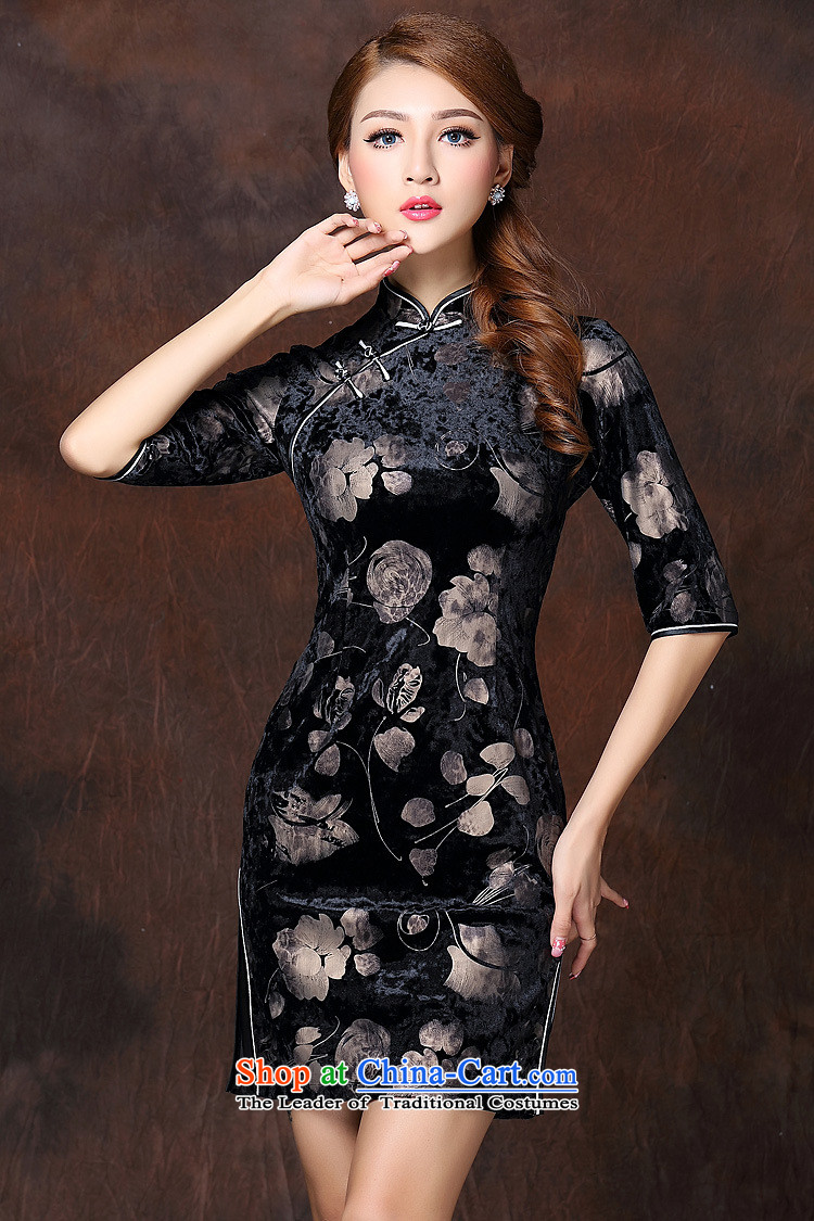 The Secretary for Health related shops * autumn and winter new women's Stylish retro stamp improved 7 cuff short qipao QF141003 velvet picture color pictures, prices, XL brand platters! The elections are supplied in the national character of distribution, so action, buy now enjoy more preferential! As soon as possible.