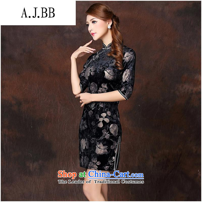 The Secretary for Health related shops * autumn and winter new women's Stylish retro stamp improved 7 cuff short qipao QF141003 velvet picture color XL,A.J.BB,,, shopping on the Internet