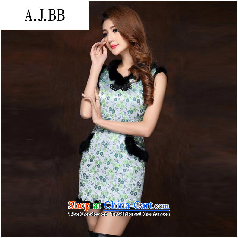 The Secretary for Health related shops _ autumn and winter new women's improved stylish spell gross sleeveless folder not open COTTON SHORT QIPAO QF141012's fruit green XXL