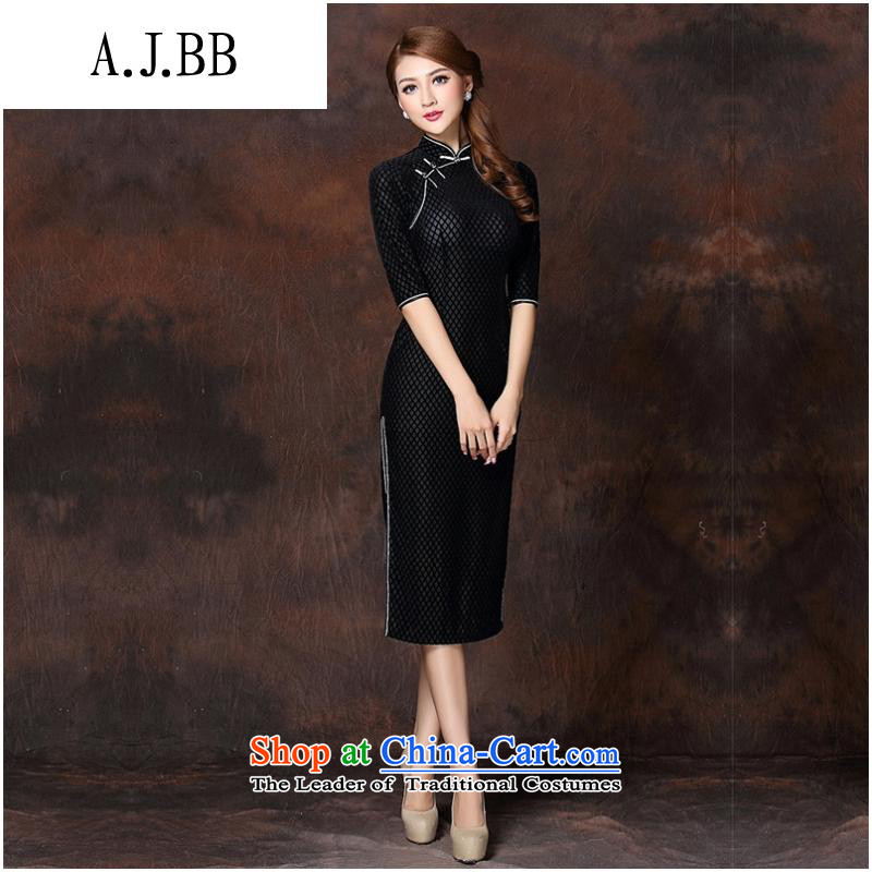 The Secretary for Health related shops _ autumn and winter new women's Stylish retro long_ Improved temperament qipao skirt聽QF141007 velvet聽聽XXXL black