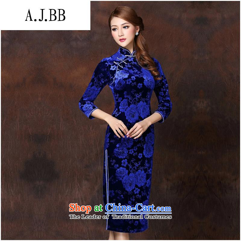 Secretary for autumn and winter clothing *2015 involving new women's improved Stylish retro-seven long-sleeved qipao?QF141008?gemstones scouring pads,?L
