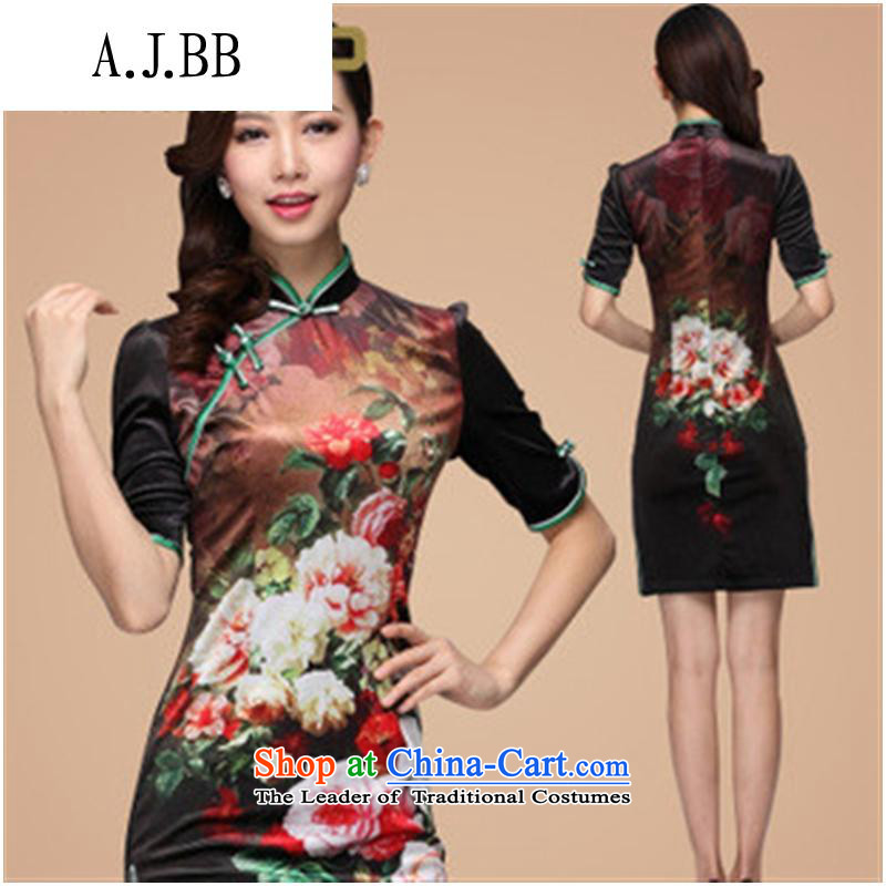 Secretary for autumn and winter clothing _2013 involving new stamp improved retro style scouring pads in short-sleeved qipao picture color_ XL