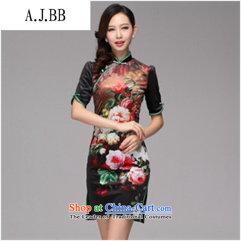 Secretary for autumn and winter clothing *2013 involving new stamp improved retro style scouring pads in short-sleeved) picture color XL,A.J.BB,,, qipao shopping on the Internet