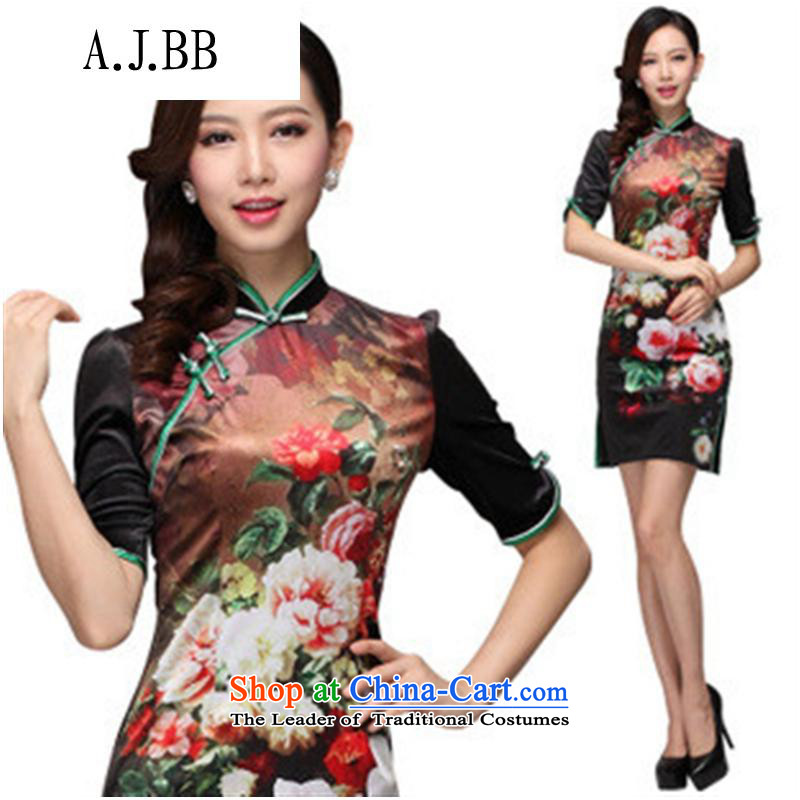 Secretary for autumn and winter clothing *2013 involving new stamp improved retro style scouring pads in short-sleeved) picture colorXL,A.J.BB,,, qipao shopping on the Internet