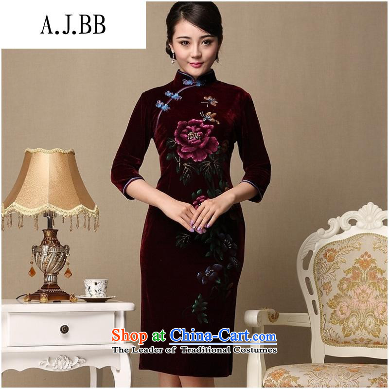 And involved new qipao _2015 shops with retro style qipao and improvement of mother Couture fashion autumn and winter cheongsam purple燤