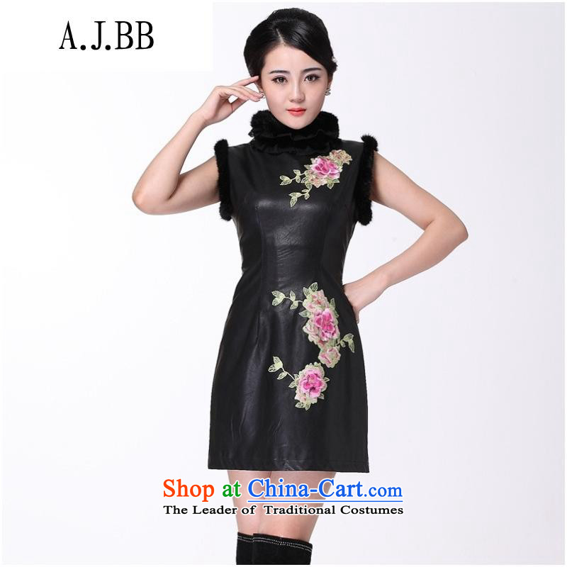 And involved new *2014 shops fall and winter leather improved stylish collar embroidery cheongsam dress winter cheongsam dress improved black�M
