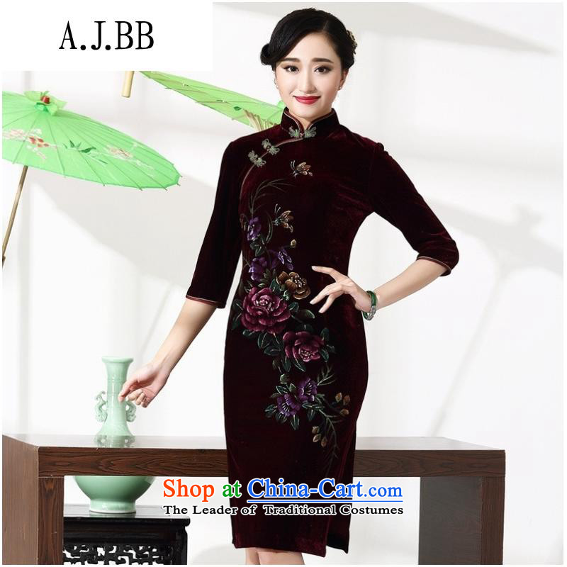 And involved new qipao _2015 clothing prices with retro style improvement mother Lady's autumn and winter cheongsam 8868 purple short-sleeved L