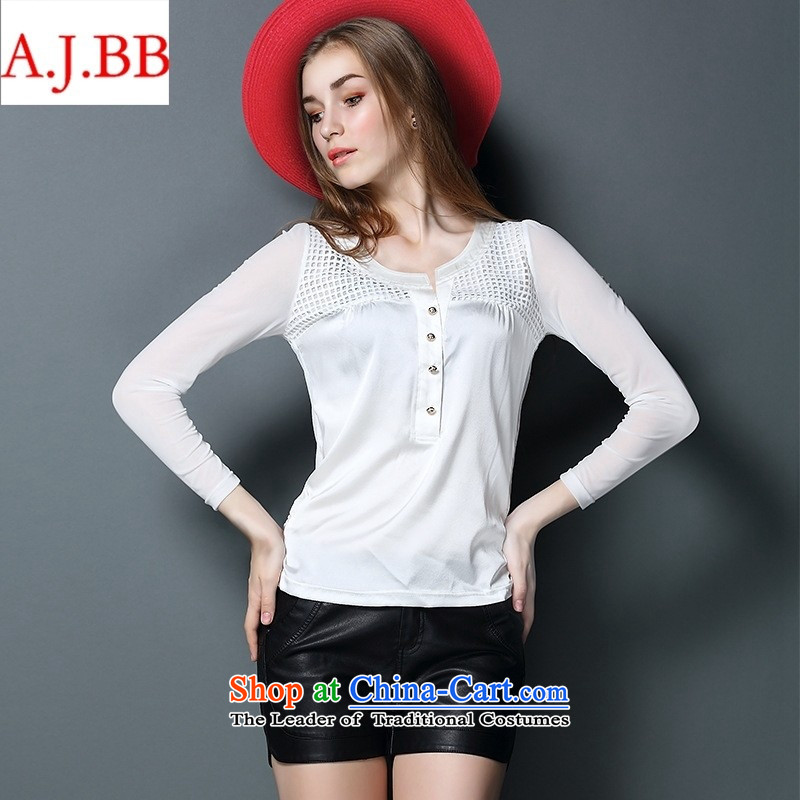 September clothes shops _ Western Couture fashion wear silk shirts 2015 female long-sleeved autumn large new grid silk T-shirt燲XXL White