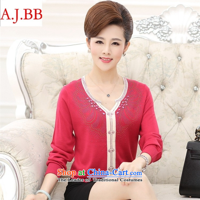September clothes shops in older women's _ autumn boxed long-sleeved T-shirt large load new fall mother ironing drill V-Neck Knitted Shirt deep purple 120