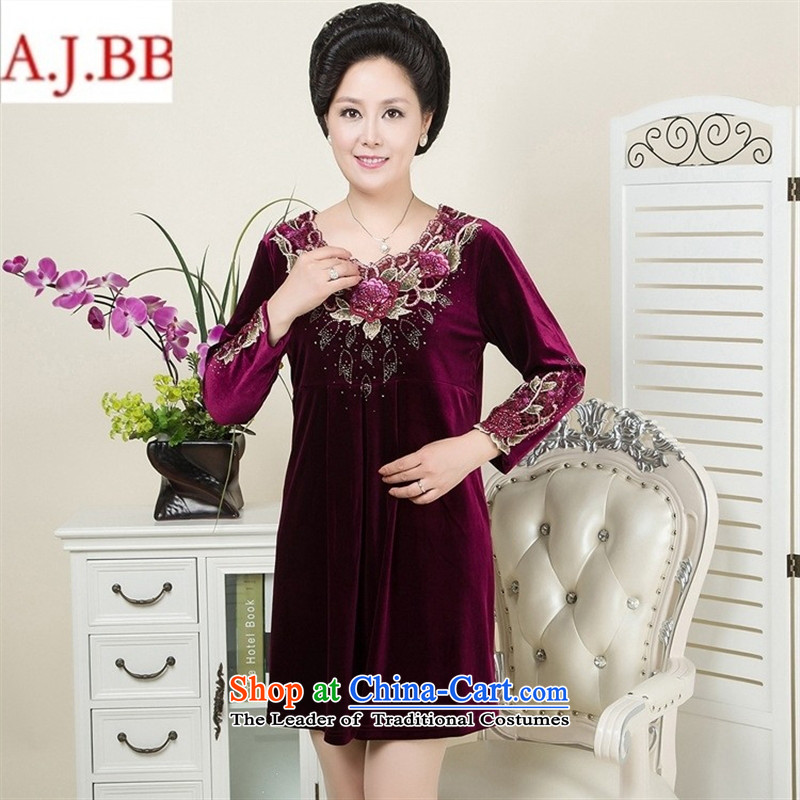 September clothes shops *2015 autumn and winter new larger elderly mother with long-sleeved Kim velvet gown purple?XXXL stamp