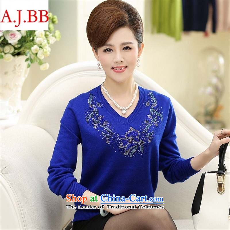 September clothes shops _2015 autumn new for women Korean long-sleeved shirt mother forming the loose knitting with Washable Wool V-Neck Sweater Female Red聽115