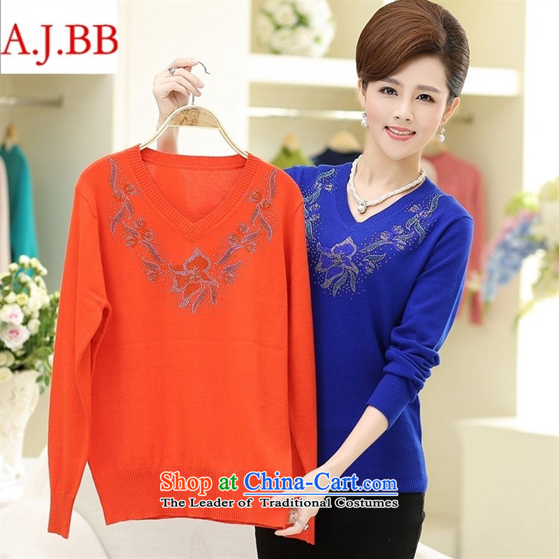September clothes shops *2015 autumn new for women Korean long-sleeved shirt mother forming the loose knitting with Washable Wool V-Neck Sweater Female Red 115,A.J.BB,,, shopping on the Internet