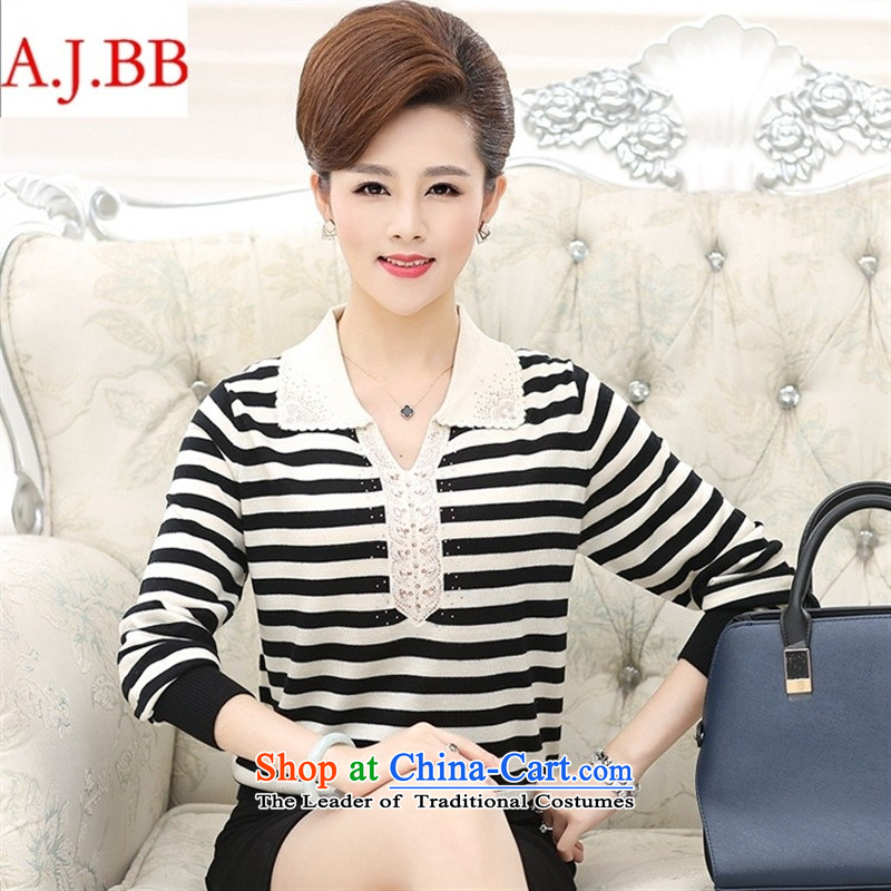 September _2015 clothes shops with new doll fall for the elderly in the neck knitted blouses and long-sleeved shirt with mother forming the Striped Tee female black聽115