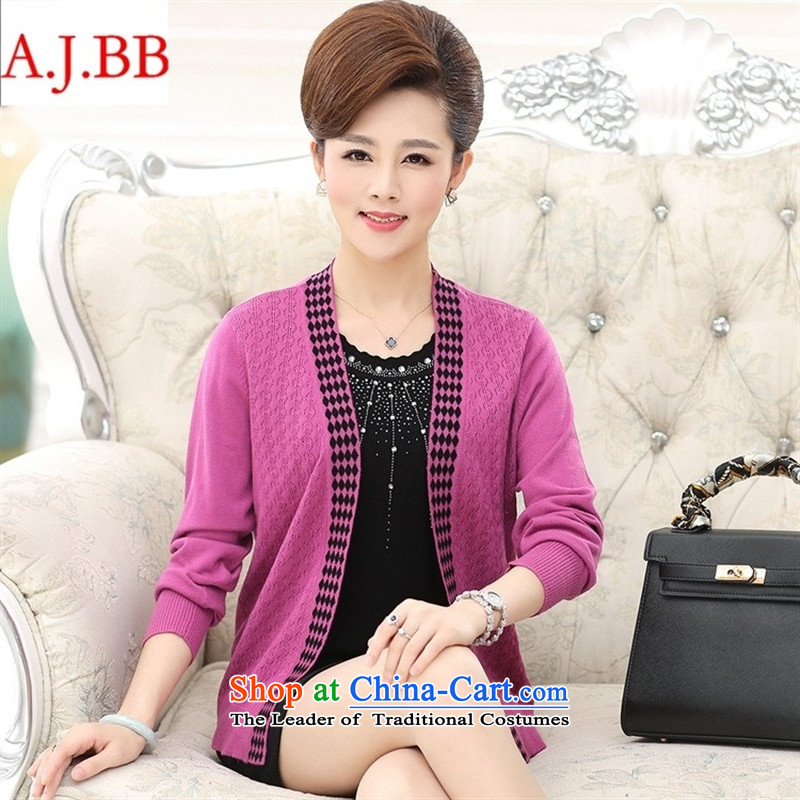 September clothes shops * autumn new) Older women's stylish middle-aged moms with really two long-sleeved jacket Knitted Shirt female pink?120