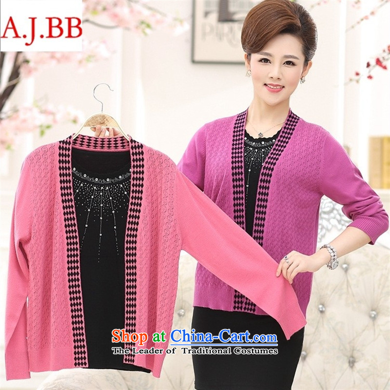 September clothes shops * autumn new) Older women's stylish middle-aged moms with really two long-sleeved jacket Knitted Shirt female pink聽120,A.J.BB,,, shopping on the Internet