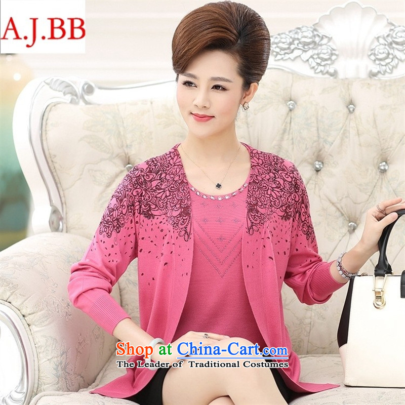 September clothes shops fall in New _2015 elderly mother with long-sleeved really two kits knitting cardigan jacket female larger T-shirt pink聽110