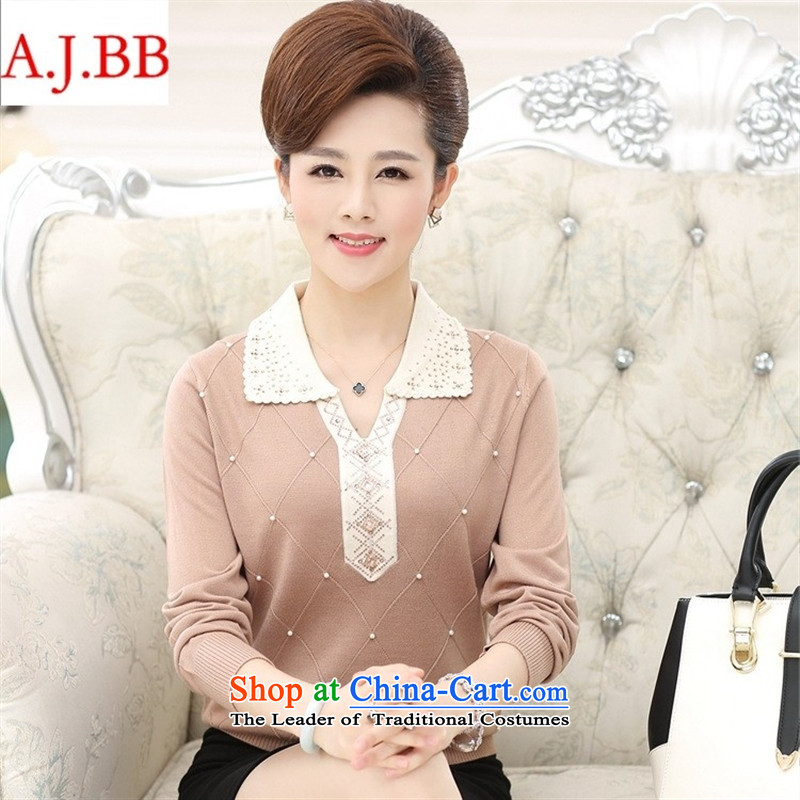 September 15 new clothes shops in the autumn of older women wear long-sleeved T-shirt, large relaxd low reverse collar middle-aged moms Knitted Shirt with pink聽110