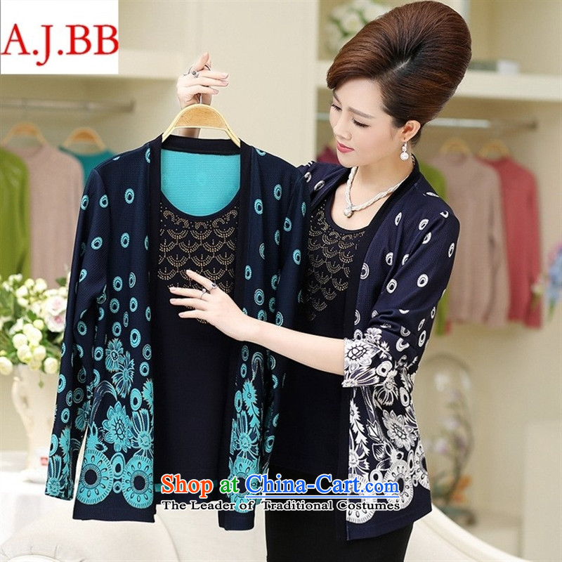 September clothes shops * autumn new) Older women's long-sleeved jacket for larger mother replacing Ms. leave two kits Knitted Shirt female pink flower?L