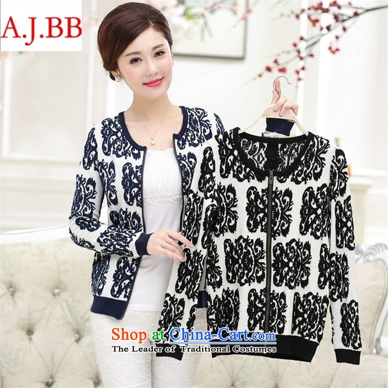 September _2015 clothes shops fall inside the middle-aged women round-neck collar with long-sleeved in stylish mother older new knit sweater jacket Black聽115