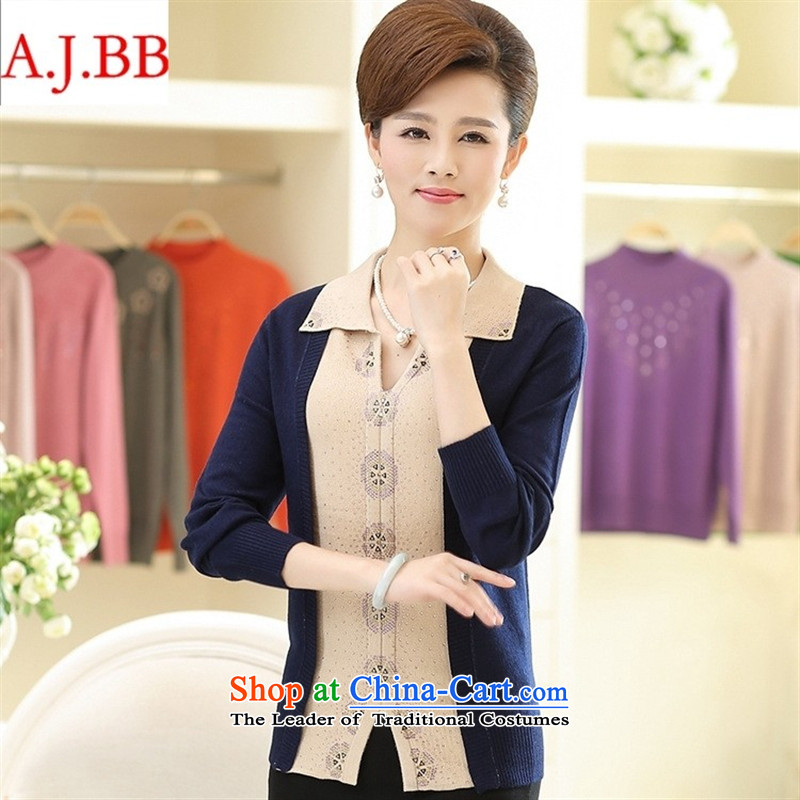 September *2015 clothes shops fall in the number of older new pure color diamond long-sleeved T-shirt and stylish middle-aged moms replacing reverse collar Knitted Shirt female white?120