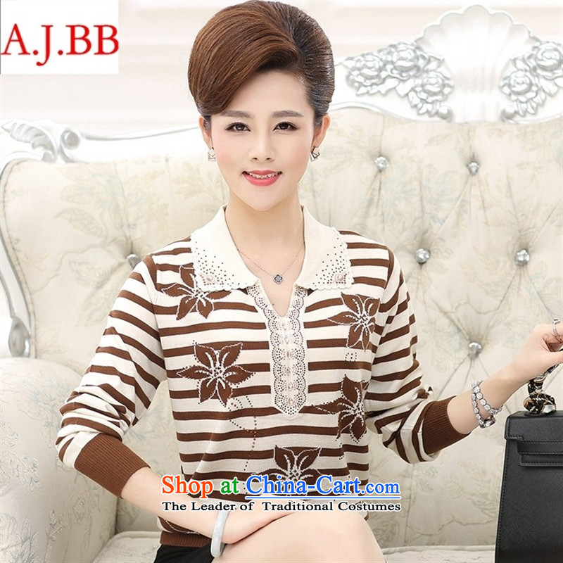 September clothes shops in older women's _ autumn large stylish with long-sleeved sweater, forming the basis for middle-aged female lapel mother replacing streaks knitwear Black�0