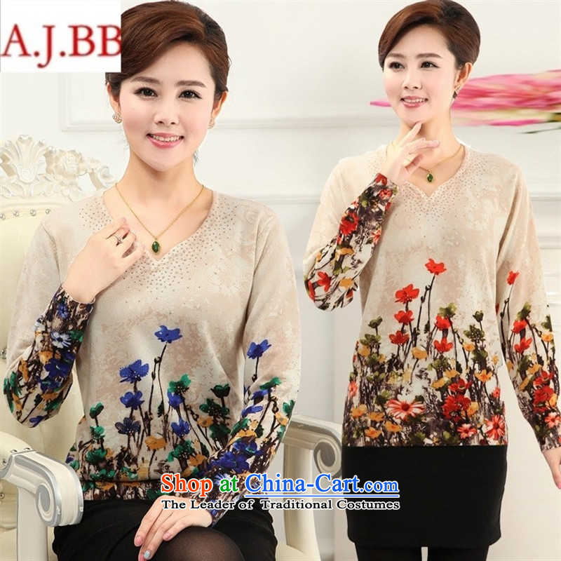 September clothes shops in older autumn and winter * load new women's loose large middle-aged moms with long-sleeved Knitted Shirt stamp T-shirt sweater blue flowers?110