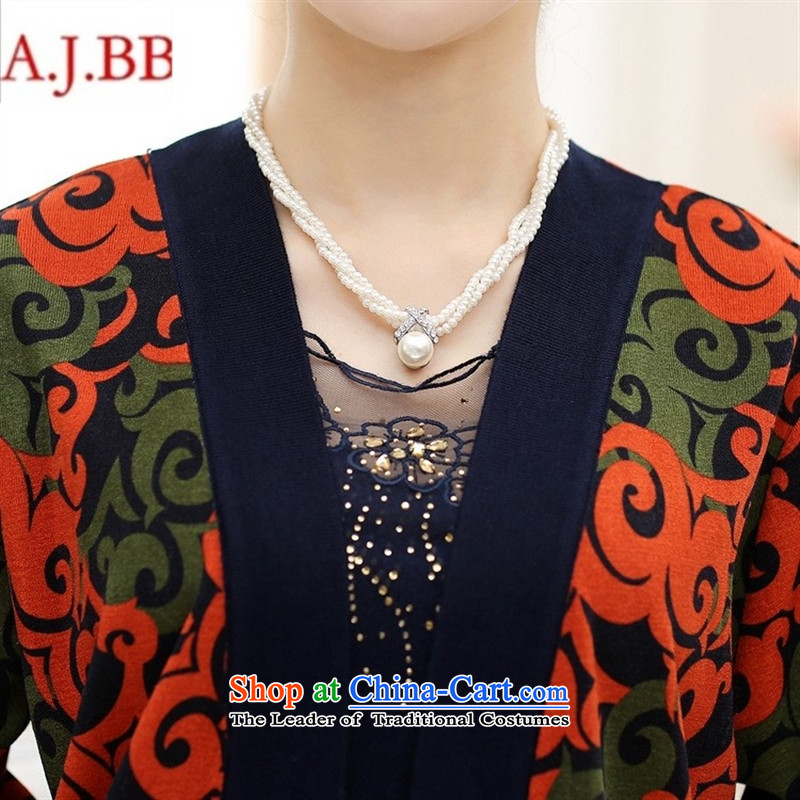September clothes shops * Load long-sleeved new fall in the number of older women's stylish middle-aged moms with really two long-sleeved jacket Knitted Shirt stamp beige聽115,A.J.BB,,, shopping on the Internet