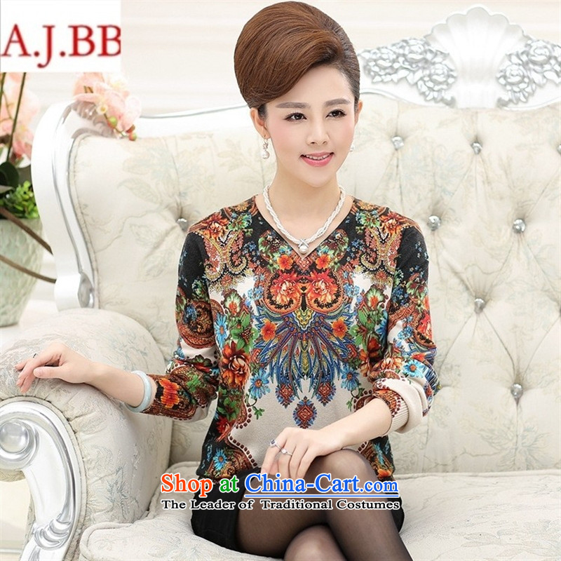 September *2015 clothes shops in the new Elderly Knitted Shirt for winter long-sleeved relaxd stylish large load mother forming the wool cashmere sweaters picture color聽120,A.J.BB,,, shopping on the Internet