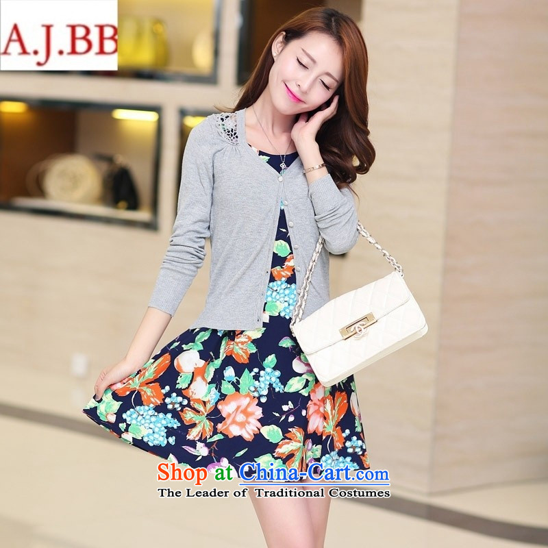 September clothes shops *2015 autumn new for women Korean stylish single row tie long-sleeved shirt like Susy Nagle stamp short skirt nursing two kits blue-white聽XL,A.J.BB,,, shopping on the Internet