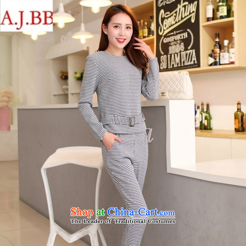September _2015 clothes shops fall for women new stylish Korean round-neck collar long-sleeved latticed Sau San two kits lactation custom dark Port Black and White燲XL