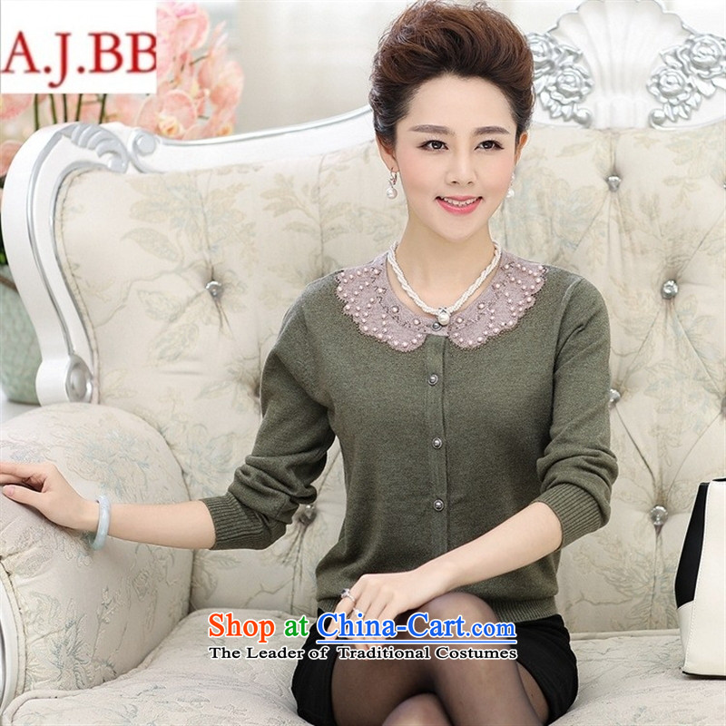 September _2015 clothes shops, replacing the autumn mother round-neck collar long-sleeved LADIES CARDIGAN in older women fall inside the new knitting cardigan large red�0
