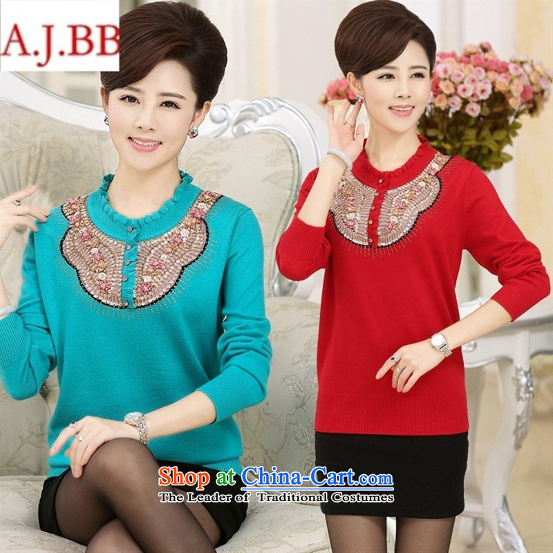 September clothes shops _ load new large fall in the number of older women wear long-sleeved middle-aged moms casual ironing drill sets and knitwear T-shirt, wine red聽115
