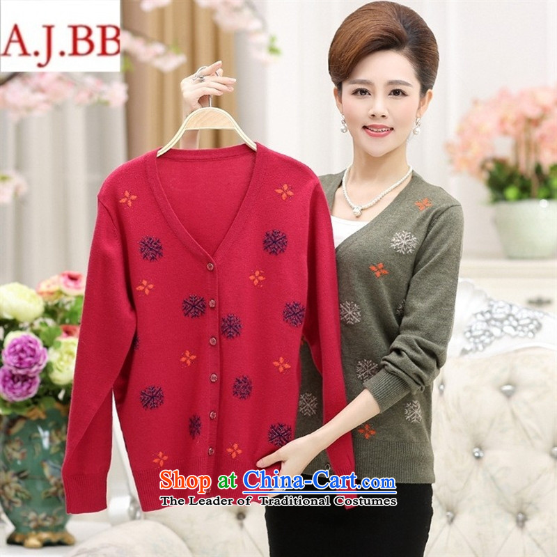 September clothes shops in the autumn of older clothing _ Install V-Neck Cardigan mother boxed long-sleeved leisure and large relaxd cashmere knitwear female Navy Blue�0