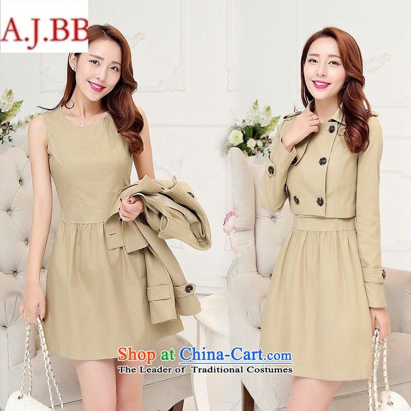 September *2015 clothes shops with the new Korean autumn temperament and stylish Sau San short version of long-sleeved wind jacket sleeveless dresses two kits?light and Color?M BBL856