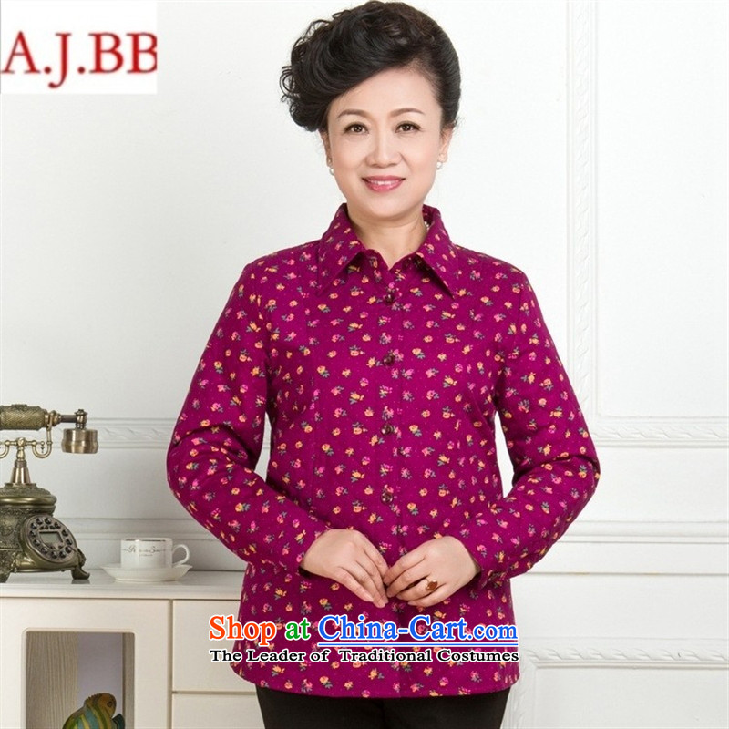 September _2015 clothes shops in the autumn of New Pure cotton shirts stamp older middle-aged women's long-sleeved shirt lapel thick with blue flowers mother燲XL