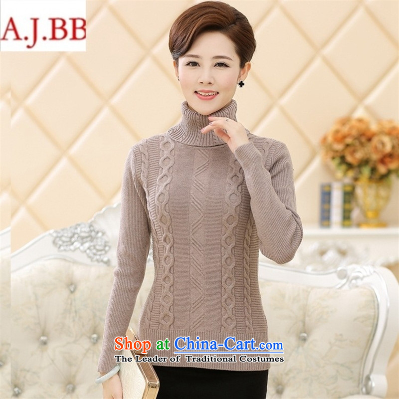 September clothes shops in the New Age _ female winter clothing long-sleeved sweater Sau San trendy code load mother pure color high-collar, forming the woolen sweater, wine red聽110