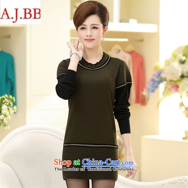 September clothes shops in the Old New * stitching pure color in long sweater with long-sleeved Knitted Shirt Mother aged 40-50, forming the Netherlands female wine red?115