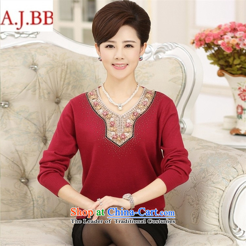 September clothes shops in the autumn * older women's long-sleeved V-Neck Knitted Shirt ironing drill solid color woolen sweater T-shirt Mother Women's clothes Red?120