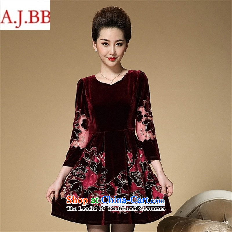 September clothes shops _ load new moms autumn replacing embroidery embroidered dress Korean elderly in temperament Kim scouring pads long-sleeved dresses, wine red燣