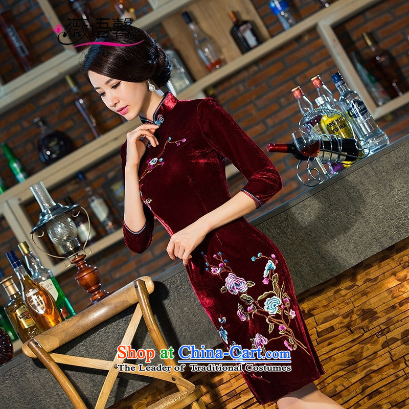 Optimize the bell 101 really scouring pads embroidery shop cheongsam middle-aged moms wedding dress daily with improved in the retro cuff qipao Black?XL