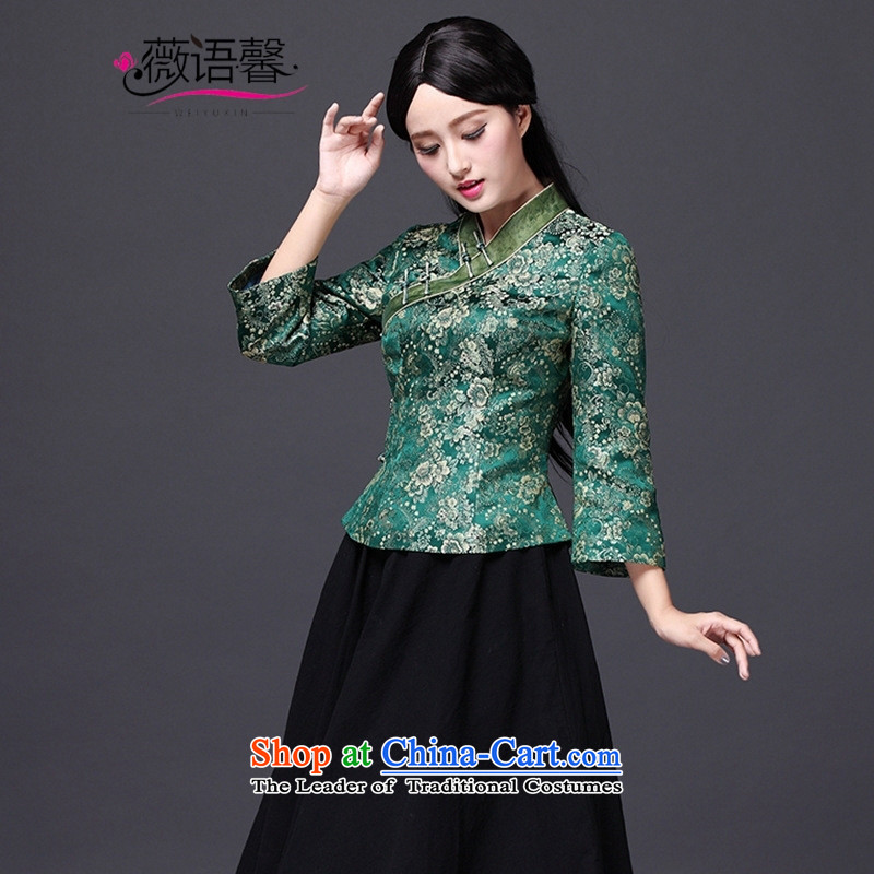 Optimize fruit shop 2015 New Bell qipao T-shirt, older retro banquet Tang blouses national wind load mother green聽L