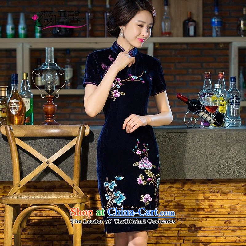 Optimize the bell 201 embroidery shop scouring pads qipao short-sleeved elegant banquet married mothers Sau San performance cheongsam dress etiquette green燲XL