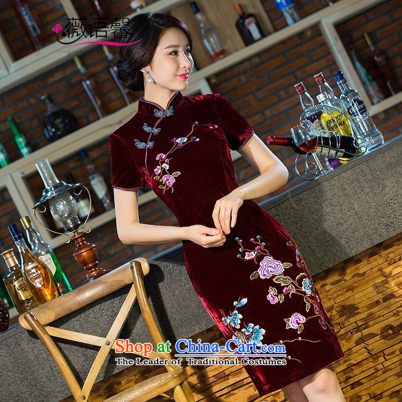 Optimize fruit shop 201 New Bell scouring pads embroidery cheongsam everyday luxury cashmere retro style improved cheongsam dress wine red聽L